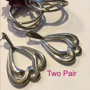 Jewelry - Silver Earrings, Causal or Dressy, 2 Pair
